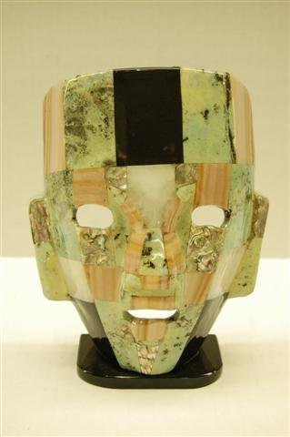 """Inca Hardstone and Abolone Mask - 8"""" tall x 6 1/4"""""""