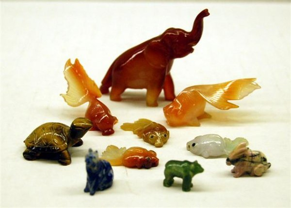 Group of Miniature Hardstone Fish and Animals