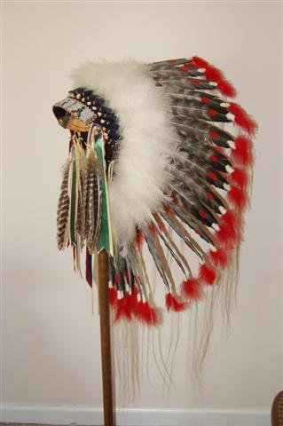American Indian Headress on Stand - Turkey Feather