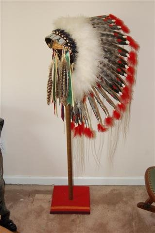 American Indian Headress on Stand - Turkey Feather - 2