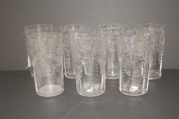 Seven Engraved Glass Tumblers