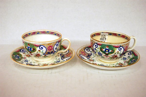 Two Floral Decorated Minton China Cups & Saucers