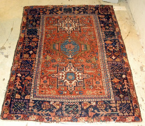 "Semi Antique Persian Throw Rug - Appox. 54"" x 43""."