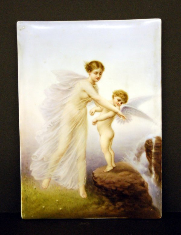 European Painting on Porcelain - Woman & Angel