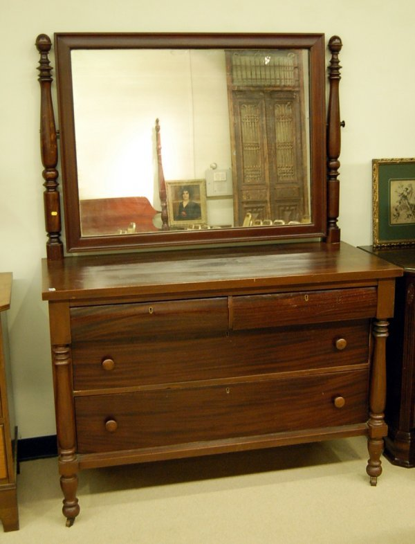 Empire Revival Mirrored Back Dresser - Mahogany