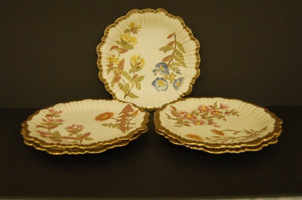 Five Royal Worcestor 19th Century Dessert Plates