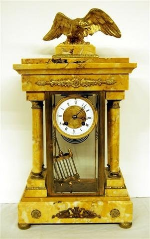 French Empire Style Marble Mantle Clock w/ Eagle Finial