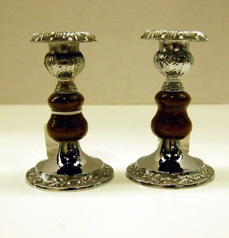 "1: Pair of small English Oak Candlesticks - 4 3/4"" tall"