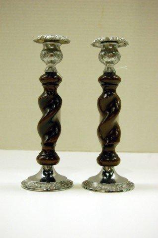 7: Pair of English Oak Barley Twist & Silver Candlestic