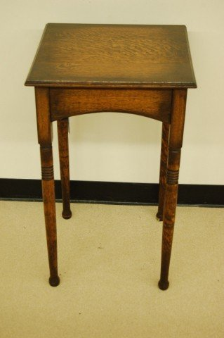 """9: Square English Oak Stand with Turned Legs - 30"""" tall"""