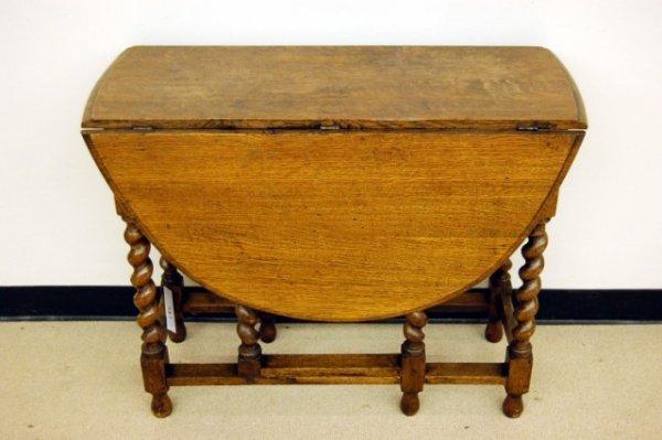 """10: English Oak Barley Twist Gate Leg Table - 29"""" tall"""