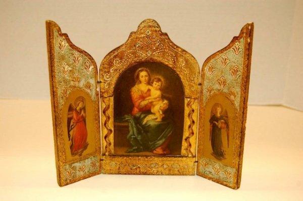 "17: Florentine Triptich Icon - 7 1/2"" tall x 9"""