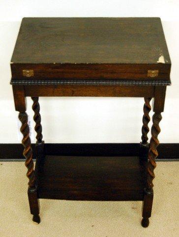 19: Oak Lift Top Cabinet with Barley Twist Legs & Shelf