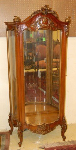 20: Mahogany Louis XV style Vitrine with curved glass f
