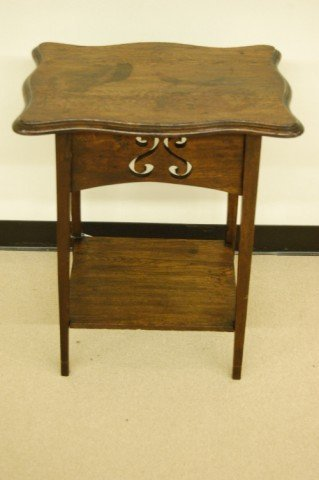 24: English Oak Shaped Top Stand with Stylized Floral C