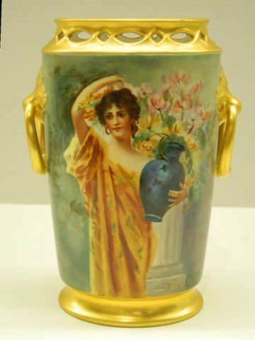 47: Hand Decorated Porcelain Vase - Persian Woman with