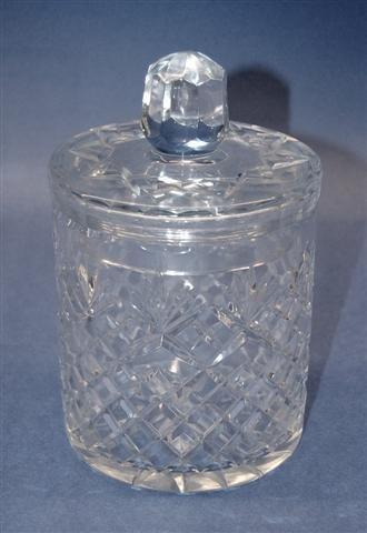 "2: Heavy Lead Crystal Bisquit Jar - 8 1/4"" T x 5"" Dia"