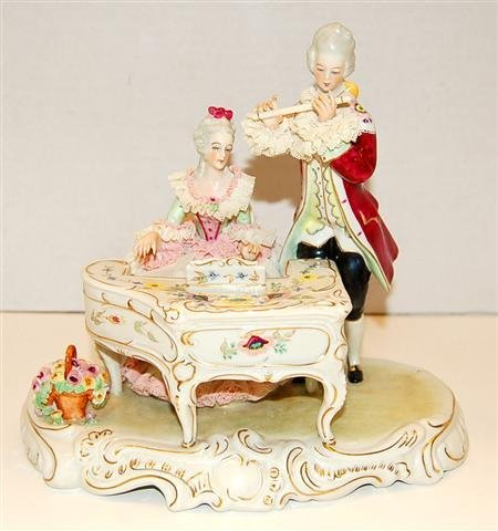 6: Porcelain Lace Figural Group - Woman playing Piano &