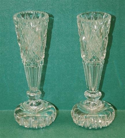 "8: Pair of Cut Glass Bud Vases - 5"" T"