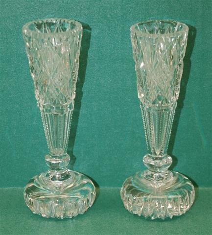 "8: Pair of Cut Glass Bud Vases - 5"" T - 2"