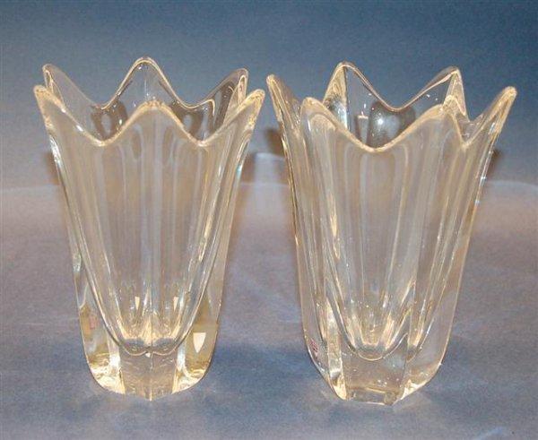 """11: Pair of Orefors Crystal Vases - 8 1/4"""" T"""