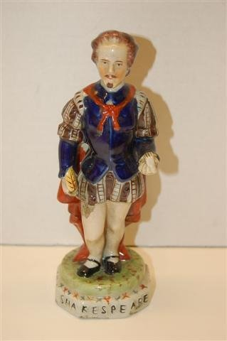 "12: Staffordshire Style Ceramic Figurine -"" Shakespeare"