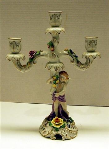 """14: Dresden Figural Candelabra w/ applied Flowers - 14"""""""