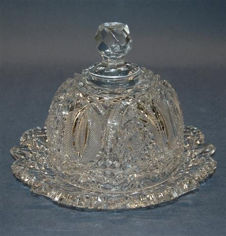 15: American Brilliant Period Cut Glass Covered Butter  - 5