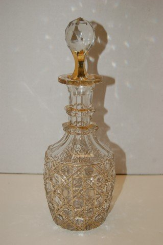16: Gold Decorated Pattern Glass Decanter w/ faceted st