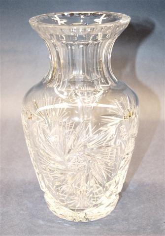 17: Cut Crystal Flare Top Vase - Pinwheel & Star patter
