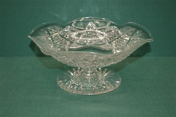 21: Cut Glass Pedestal Fruit Bowl - Hobstar & Fan patte