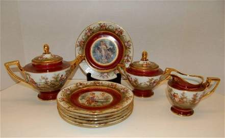 41: Royal Vienna Dessert Set - Tea Pot, Cream & Sugar,