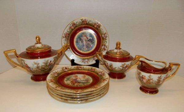 41: Royal Vienna Dessert Set - Tea Pot, Cream & Sugar,