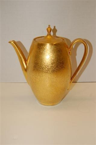 1: Bavarian Porcelain Coffee Pot w/ Gold Floral Stencil