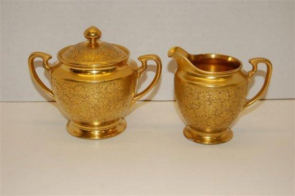 3: Pickard Porcelain Cream & Sugar w/ Gold Floral Stenc