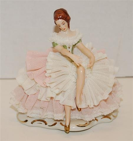 """8: Dresden-Art made in Germany Lace Figurine - 4"""" T x 3"""