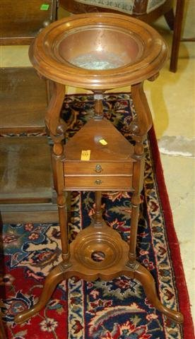 9: Mahogany Queen Anne Style Wig Stand w/ Copper Liner