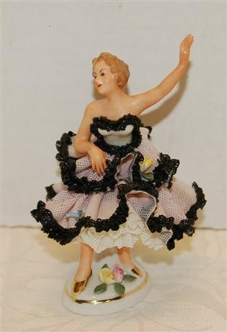 13: Two Small MZ Ireland Dresden Lace Figurines - 3 3/4