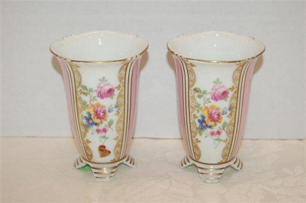 23: Pair of Small German Porcelain Vases w/ floral pane