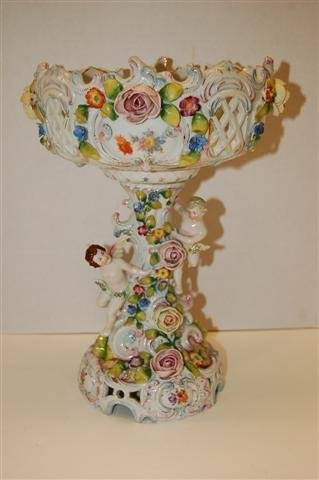 37: Dresden Porcelain Figural Compote w/ hand decorated