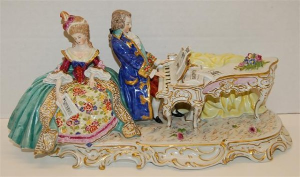 "66: Porcelain Figural Group - Man Playing Piano - 6"" ta"