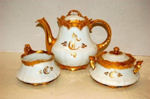 1: 3 PC. Gold & White China Tea Set- One (1) pc. signed