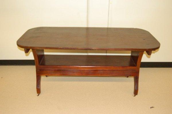 5: 19th Century American Pine & Walnut Sawbuck Table -