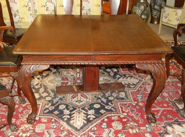 15: Mahogany Rectangular Extension Table w/ Claw Feet -