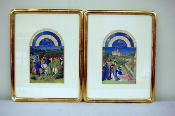17: Two Framed & Matted Persian Miniature Lithographs -