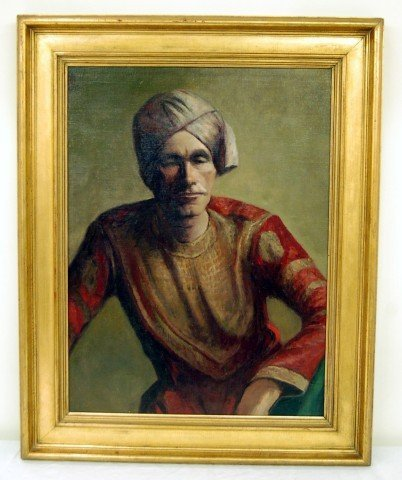 19: Oil on Canvas - Portrait of Man in Indian Dress - i