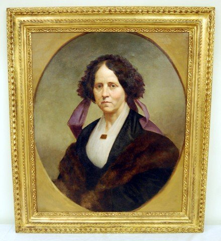 24: Oil on Canvas - Portrait of Mrs. Baker - in gilt fr