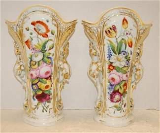 52: Pair of 19th Century Old Paris Floral Decorated Vas