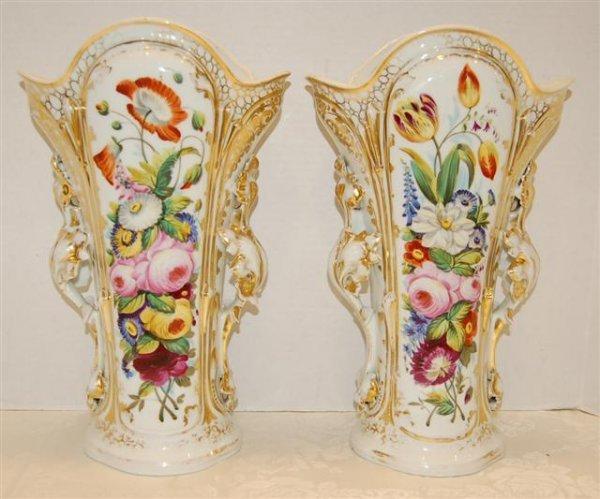52: Pair of 19th Century Old Paris Floral Decorated Vas