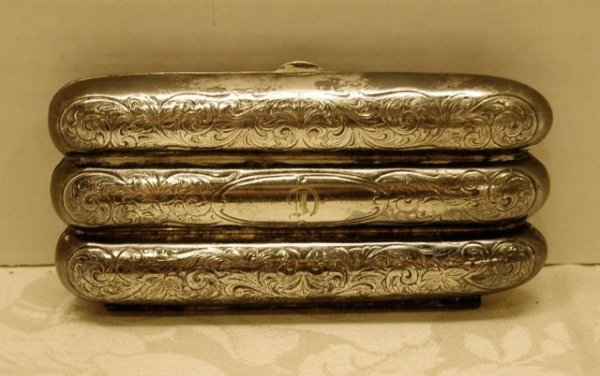 "58: Engraved Silver Cigar Box - monogrammed ""C"" -"
